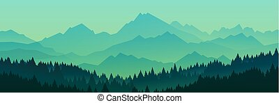 黑色半面畫像, 矢量, illustration., 森林