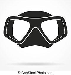 黑色半面畫像, 符號, ......的, 水下的 潛水, 水肺 面具