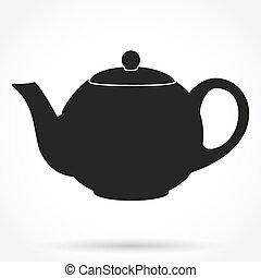 黑色半面畫像, 符號, ......的, 第一流, teapot., 矢量, illustration.