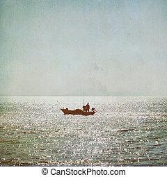 黑色半面畫像, 背景, 葡萄酒, 漁夫, 海, 小船