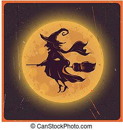 黑色半面畫像, 葡萄酒, 万圣節, 針對, 月亮, 巫婆, 背景