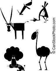 黑色半面畫像, 藝術, 初始, 動物