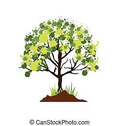 黑色半面畫像, 覆有葉, 鮮艷, 樹