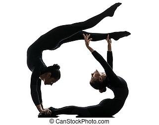 黑色半面畫像, 體操, 行使, 二, 瑜伽, contortionist, 婦女