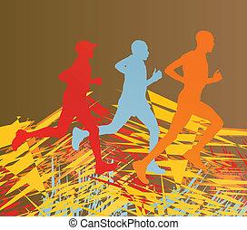 黑色半面畫像, 鮮艷, 賽跑的人, 摘要, 線, 矢量, 前面