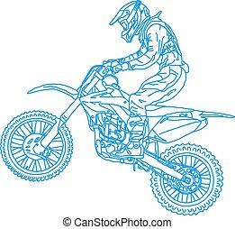 黑色半面畫像, motocross, 騎手, 上, a, motorcycle., 矢量, 插圖