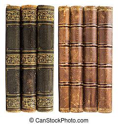 黑色和, 布朗, 舊的書, 由于, 黃金, 設計, 被隔离, 在懷特上