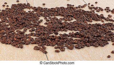 黑色的咖啡, 豆, 上, a, 木制, table.photo, 由于, 模仿空間