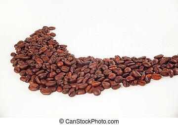 黑色的咖啡, 豆, 在懷特上, background.photo, 由于, 模仿空間