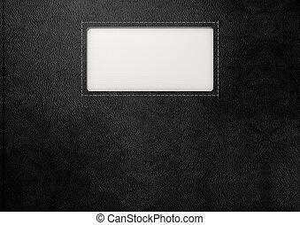 黑色的皮革, 由于, 鑲嵌, 標簽