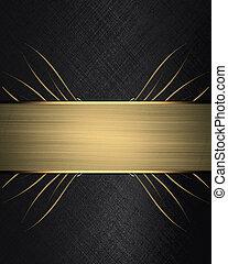 黑色的背景, 由于, 金, ribbon., 設計, 樣板