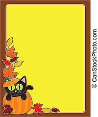 黑色的貓, 邊框, 南瓜