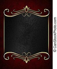 黑色, 名稱盤子, 由于, 金, 裝飾華麗, 邊緣, 上, 紅的背景