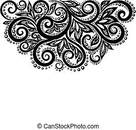 黑色 和 白色, 帶子, 花, 以及, 離開, 被隔离, 上, white., 植物群的設計, 元素, 在, retro, style.