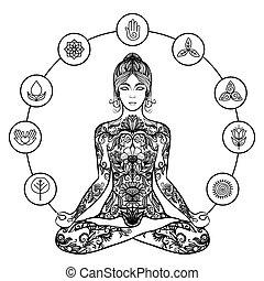 黑色, 圖象, 婦女, 瑜伽, 裝飾, 蓮花