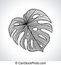 黑色, 宏, 棕櫚葉, isolated.