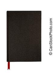 黑色, 平原, hardcover書, 或者, 聖經, 封面, 直立, 紅色, 書簽, 垂直, 被隔离, 在懷特上