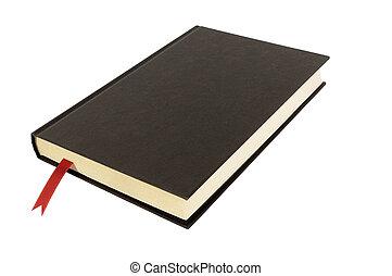 黑色, 平原, hardcover書, 或者, 聖經, 封面, 紅色, 書簽, 被隔离, 在懷特上