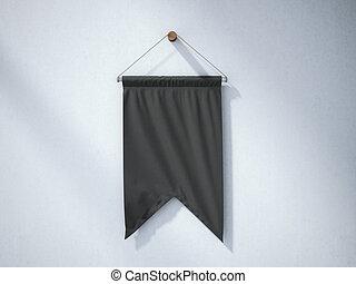 黑色, 懸挂, 細長三角旗