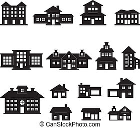 黑色, 房子, 放置, 白色, 2