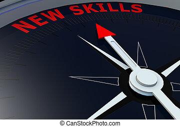 黑色, 指南針, 由于, 新, 技能, 詞, 上, 它