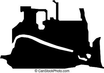 黑色, 推土机, 矢量, 侧面影象