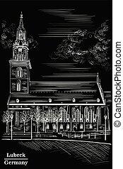 黑色, 教堂, mary, 街, 柏林