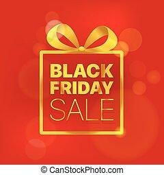 黑色, 星期五, 銷售, 矢量, concept., 黃金, 標識語, 上, 紅色