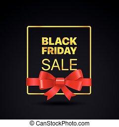黑色, 星期五, 黃金, frame., 黑色, 星期五, 銷售, 矢量, 標簽, 由于, 紅的緞帶