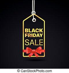黑色, 星期五, 黃金, label., 黑色, 星期五, 銷售, 矢量, 標簽, 由于, 紅的緞帶