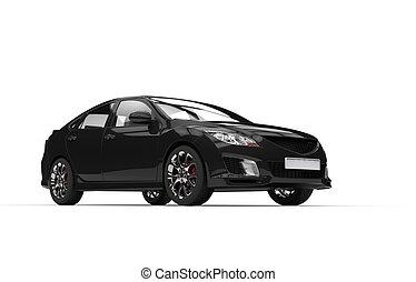 黑色, 汽車, -, 側視圖