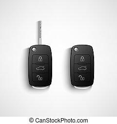 黑色, 汽車, 遙遠, 鑰匙