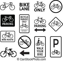 黑色, 白色, 放置, 自行车, 签署