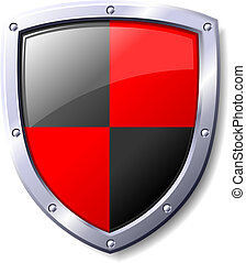 黑色, 盾, 紅色