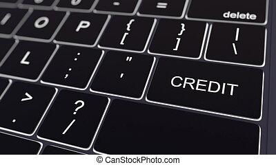 黑色, 計算机鍵盤, 以及, 發光, 信用, key., 概念性, 3d, rendering
