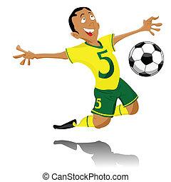 黑色, 足球運動員, 慶祝, goal.