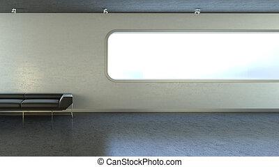 黑色, 長沙發, 在, interrior, 牆, 窗口, copyspace