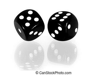 黑色, 骰子, 反映