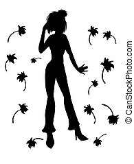 黑色, 黑色半面畫像, ......的, a, 女孩, 上, the, 背景, colors., 矢量, 插圖