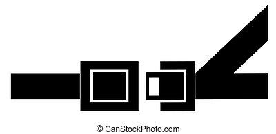 黑色, 黑色半面畫像, ......的, a, seatbelt, -, 表明, 到, 扣, 向上