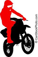 黑色, 黑色半面畫像, motocross, 騎手, 上, a, motorcycle., 矢量, illust