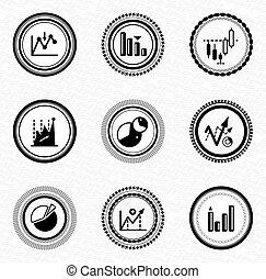 黑色, retro, 標籤, 以及, badges:, 事務, 統計