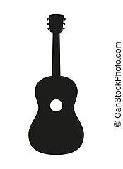 黒い、そして白い, アコースティックギター, silhouette.