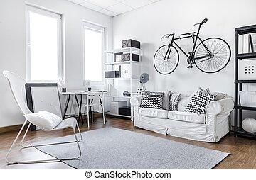 黒い、そして白い, スタジオ, 部屋