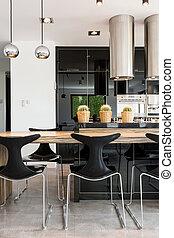 黒い、そして白い, 台所