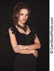 黒いドレス, 女, ブルネット, 魅力的