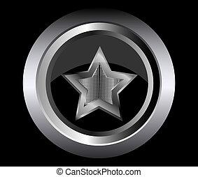 黒いボタン, ベクトル, 星, 金属