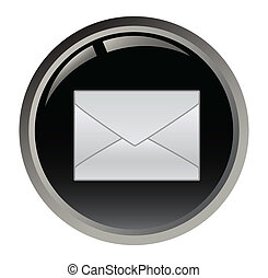 黒いボタン, 電子メール, ベクトル