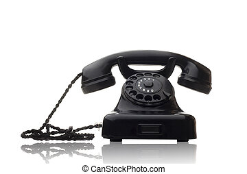 黒い回転式の電話