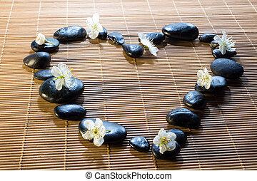 黒い心臓, 花, 石